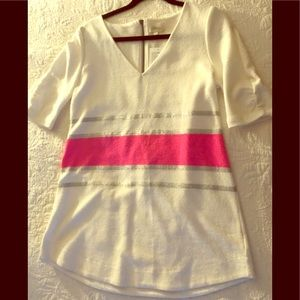 Anthropologie Deletta White Pink Top Size Large